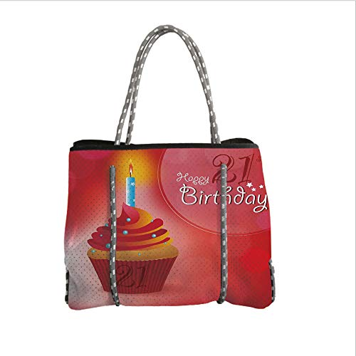 iPrint Neoprene Multipurpose Beach Bag Tote Bags,21st Birthday Decorations,Abstract Sun Beams Backdrop Party Cupcake with Frosting Image,Red and Orange,Women Casual Handbag Tote Bags]()