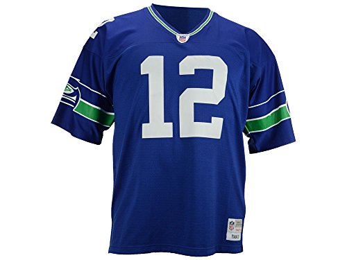 Seattle Seahawks Blue Fan #12 12th Man Mitchell and Ness Throwback Jersey (XXL) (Authentic Nfl Throwback Football Jersey)