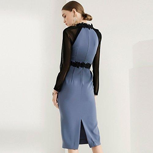 Piece Neck Sleeve Con Dress Body Dresses Long Mesh 2 Women`s Scoop cotyledon wBSZA