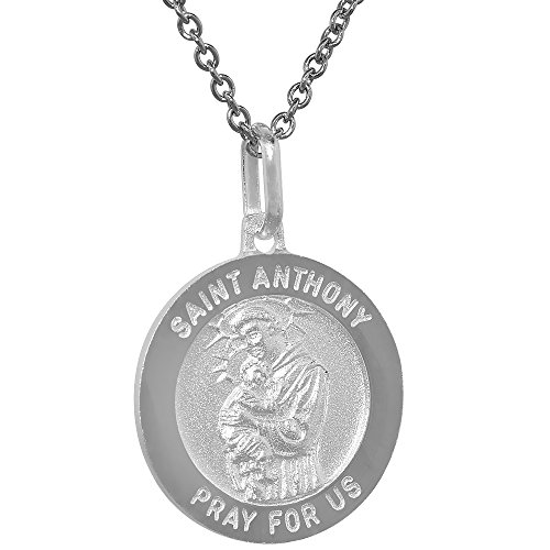 Sterling Silver St Anthony Medal Necklace 3 4 Inch Round Italy