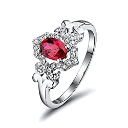 White Gold With Red Ruby Diamond Ring