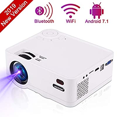 Video Projector, ANCROWN 2019 Upgraded Android System 3800 Lumens Full HD 1080P Home Theater Projector, 70,000 Hours LED Service Life, Bluetooth WiFi Mini Projector for Smartphone, PC, TV Box, et