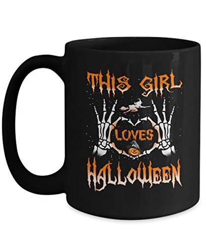 31 Halloween Costume Ideas (Great Gift For Halloween - This Girl Love Halloween Coffee Mugs - 11oz 15 oz Ceramic Novelty Double Wall C-Shape Handle Tea Cup - Best Halloween Costumes Gifts Idea for Womens Kids - 31st October)