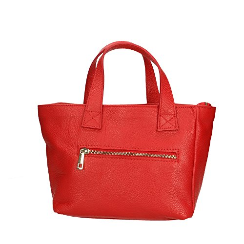 Aren Handbag Borsa a Mano da Donna in Vera Pelle Made in Italy - 25x20x10 Cm Rosso