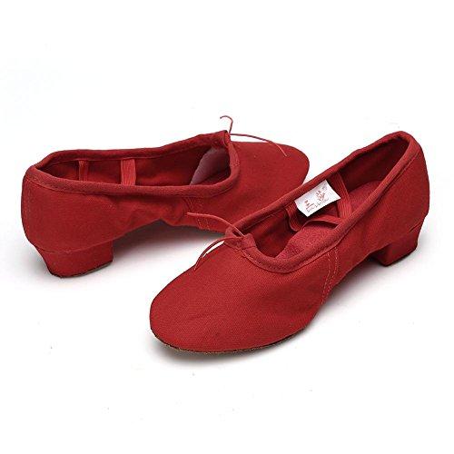 HROYL Zapatos de baile/Zapatos latinos de satín mujeres ES7-F17 el rojo