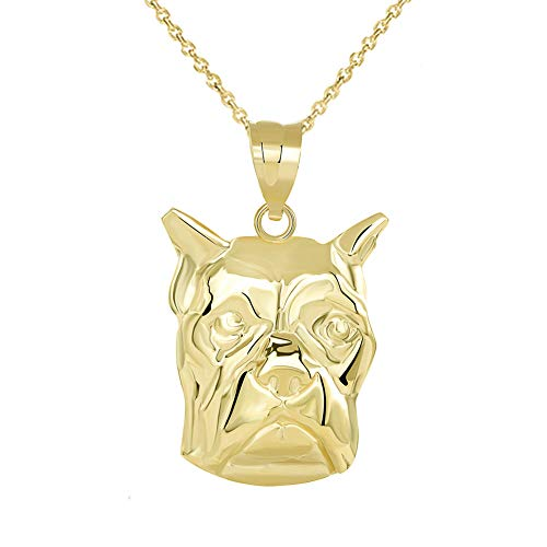 Fine 14k Yellow Gold Boxer Dog Head Face Pendant Necklace (22