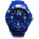 Chic-Net Uhr Ice Style Watch Big Face Unisex Silikon Armbanduhr Sport Uhren Trend Herren Damen blau