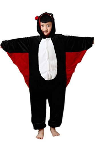 [Setwell Black Bat Unisex Child One Piece Pajamas Animal Cartoon Costume Onesie Cosplay] (Childs Bat Costume Pattern)