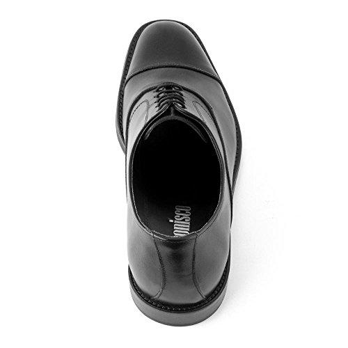Masaltos Scarpe con Rialzo da Uomo Che Aumentano l'Altezza Fino a 7 cm. Fabbricate in Pelle. Modello Derbi Nero