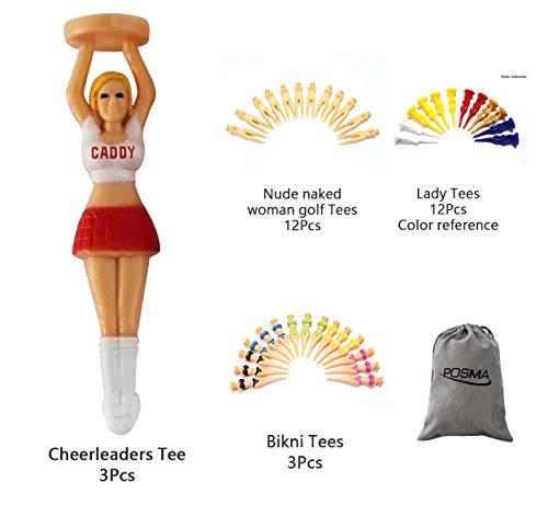 Naked Golf - POSMA GTS001 Multi Series Tee bundle set with 3pcs Cheerleaders Tee + 12pcs nude naked woman golf tees + 12pcs lady tees + 3 pcs bikini tees + 1pc Flannel Storage bag