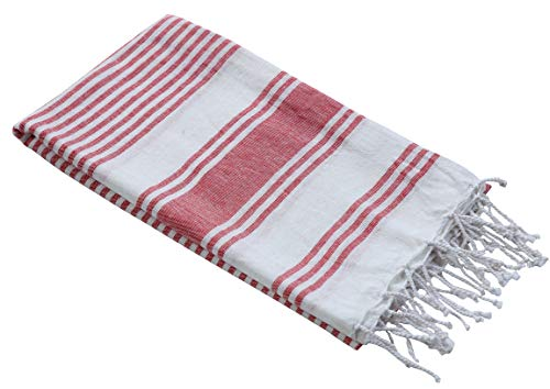 (Thin Beach Towel in Cotton Fabric with Quick Dry Absorbent Quality,Peshtemal Beach Towel,Pool Blanket,Fouta Beach Towels,Gym Pool Blanket Fouta Towels, Stripe Design 39x70 -Red White. Set of 2)