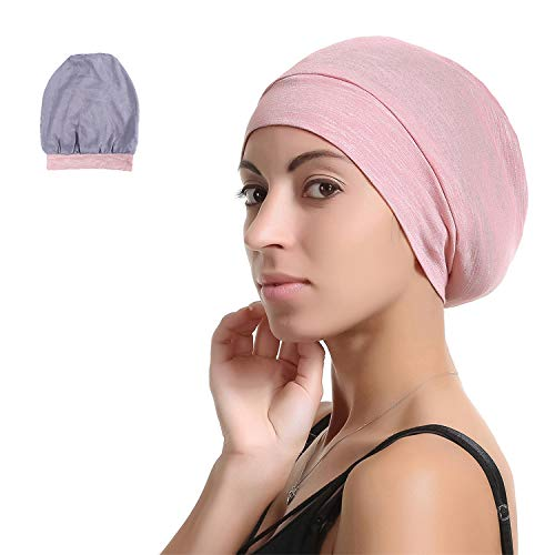 Slap Night Cap Sleep Hat Beanie - Pink Women Chemo Cancer headwer Organic Bamboo Cotton Satin Silk Satun Satin Lined Bonnet Slouchy Summer Hair Beanie for Women Lady Lightweight Light Jersey Chemo... (New Kids On The Block Jersey)