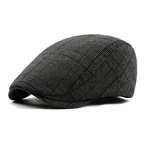 (LANLEO Men's Herringbone Wool Tweed Gatsby Newsboy Hat Flat Lvy Cabbie Driving Golf Cap (Black-02))