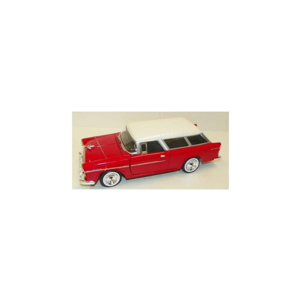 Motormax 1/24 Scale Diecast 1955 Chevy Bel Air Nomad in Color Red with White Top