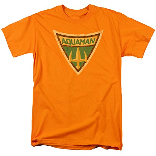 Batman+Retro+Shirts Products : Aquaman Shield from Batman: The Brave And the Bold Orange Adult T-shirt Tee