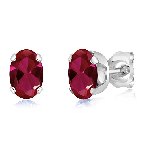Gem Stone King 1.36 Ct Oval 6X4MM Red Created Ruby 925 Sterling Silver Women's Stud ()