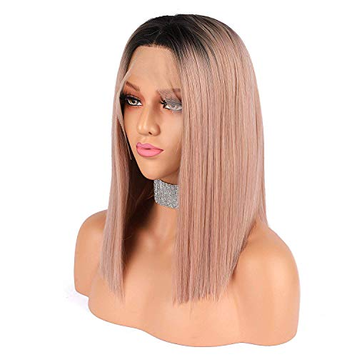 eNilecor Pink Wigs, Short Rose Gold Lace Front Bob Wigs Colored Ombre Straight Middle Parting 150% Density Synthetic Wig -