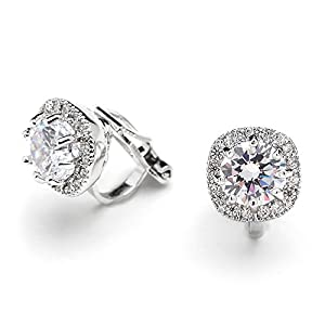 Mariell Cubic Zirconia Cushion Shape 10mm Halo Stud Clip-On Earrings with Round Cut Solitaire