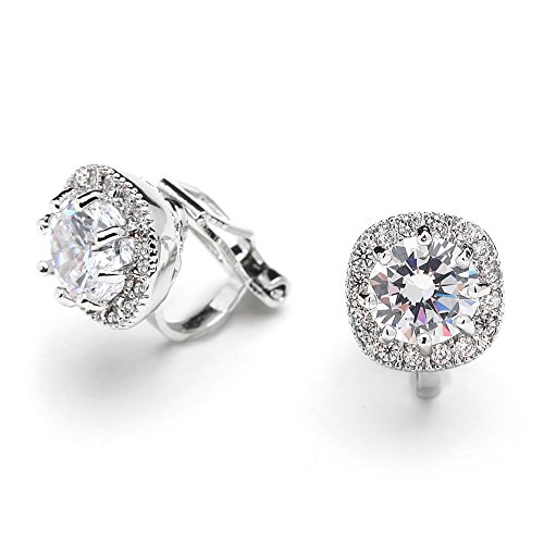 Mariell Cubic Zirconia CZ Clip On Stud Earrings - 10mm Cushion Shape Pave Halo Nonpieced Round Solitaires (Non Pierced Diamond Earrings)