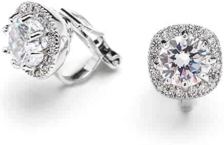 ed4706780 Mariell Cubic Zirconia CZ Clip On Stud Earrings - 10mm Cushion Shape Pave  Halo Nonpieced Round