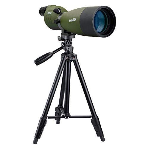 SVBONY SV17 25-75x70mm Spotting Scope Waterproof Straight Spotting Scope for Target Shooting Hunting Bird Watching(with 4 Section Tripod)