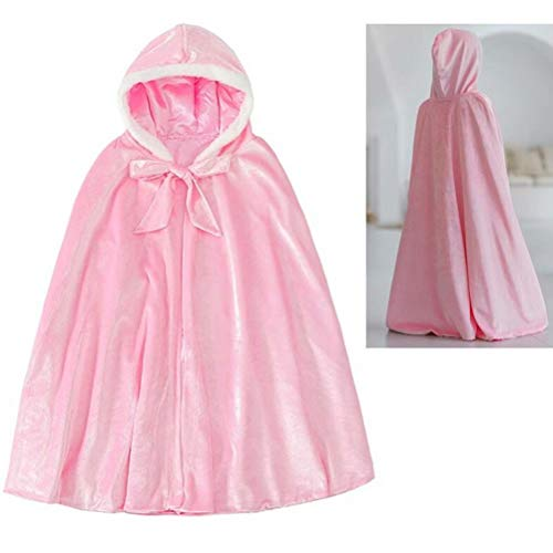 Tsyllyp Hooded Cloak Full Length Velvet Cape for Girls Christmas Halloween Cosplay Costumes ()