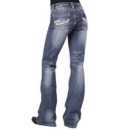 (Stetson Womens Blue Cotton Heavy S Deco Stitch Boot Cut Jeans 8 2X)