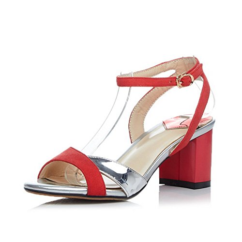 AmoonyFashion Womens Blend Materials High-Heels Open-Toe Assorted Color Buckle Sandals Red 8ekEFeFtH