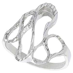 Plata de ley de Freeform anillo acabado de corte de diamante