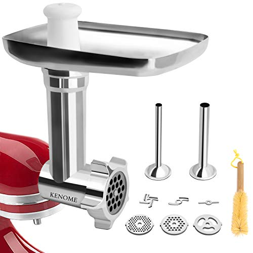 - Metal Food Grinder Attachment for KitchenAid Stand Mixers Includes 2 Sausage Stuffer Tubes,Durable Meat Grinder Attachment for kitchenAid,Sliver