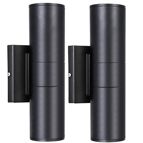 Hykolity 20W Outdoor LED Wall Mount Cylinder Light, Aluminum Finish Wall Sconce Lighting, 1400lm, 3000K Waterproof Up and Down Architectural Fixture, for Door Way, Corridor, Garage - 2 Pack