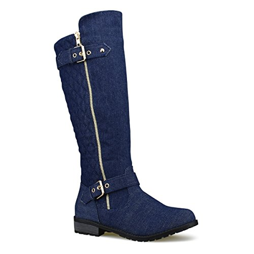 Premier Standard Women's Quilted Side Zip Knee High Flat Riding Boots - High Heel Shoe - Sexy Knee High Boot - Easy Heel Premier Dk. Blue Denim