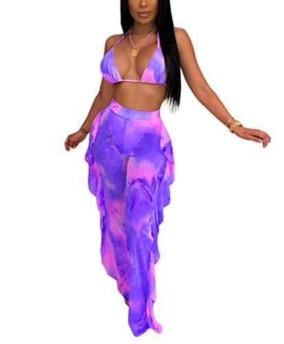 Women Two Piece Ruffle Bikini Outfits Tie Dye Crop Top and High Waist Pants Suit Swimsuits Swimwear Pueple S Purple