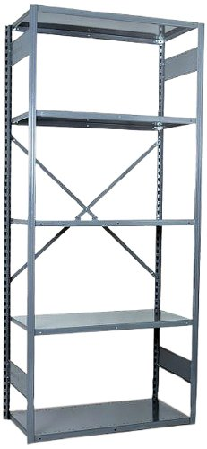 (Equipto 665W5S V-Grip 18-Gauge Heavy Duty Steel Open Shelf Starter Unit with 5 Shelves, 450 lbs Shelf Capacity, 48