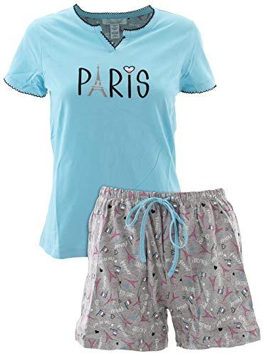 Paris Short - Rene Rofe Women's Paris Blue Cotton Short Pajamas L