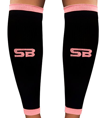 SB SOX Compression Calf Sleeves (20-30mmHg) for Men & Women - Perfect Option to Our Compression Socks - For Running, Shin Splint, Medical, Travel, Nursing, Cycling, and Leg Pain (Black/Pink, Large)