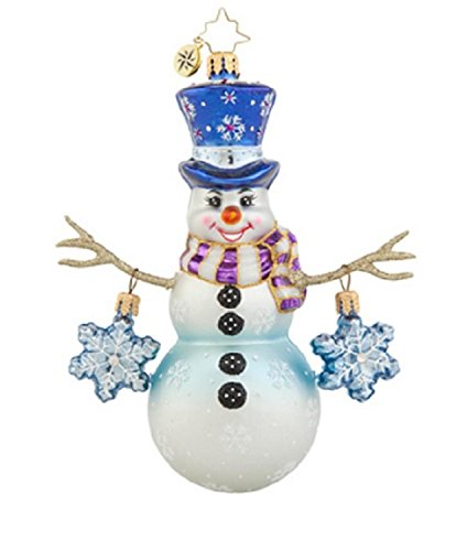 Christopher Radko Glass Snowflake Cascade Snowman Christmas Ornament #1017649