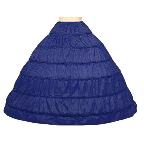Noriviiq Womens A-Line 6 Hoops Skirt Floor Length Crinoline Petticoat Slips Underskirt for Wedding Dresses Navy Blue
