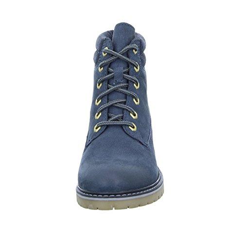 BOXX 75.262 Damen Stiefel Schnürer Blockabsatz Echtleder Blau (Navy)