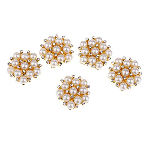Baoblaze 5 Pieces Pearl Flower Flat Back Rhinestone Metal Buttons Crystal Embellishments DIY Wedding Invitation Hair Flower Bow Center Accessories Sewing Costume (Pearl Flower Button)