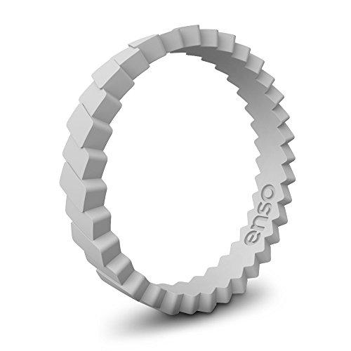 Enso Slanted Brick Silicone Ring Misty Grey Size:6