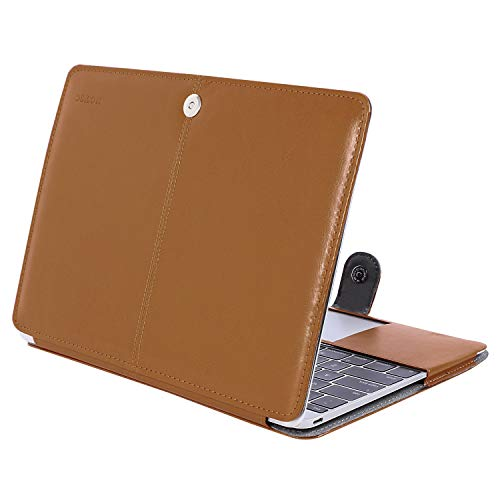 R12 Air (MOSISO PU Leather Case Only Compatible MacBook 12 Inch with Retina Display A1534 (Version 2017/2016/2015), Premium Quality Book Folio Protective Stand Cover Sleeve, Orange Brown)
