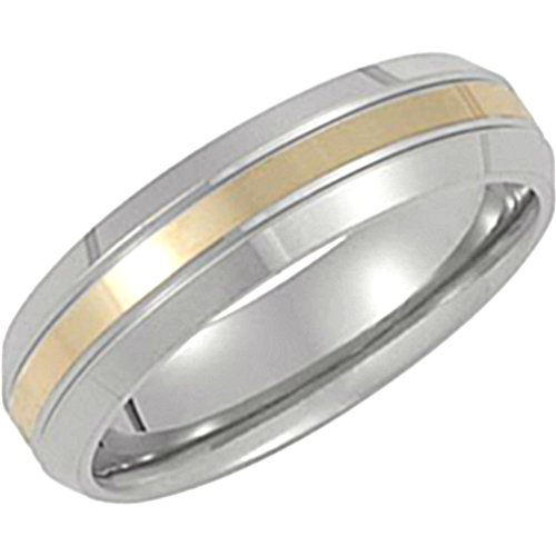 Titanium and 14k Yellow Gold Inlay 6mm Comfort Fit Band, Size 8 by The Men's Jewelry Store (for HER)