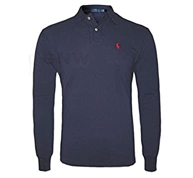 RALPH LAUREN MEN\u0026#39;S LONG SLEEVE POLO SHIRT BLACK, NAVY, RED, WHITE CLASSIC FIT