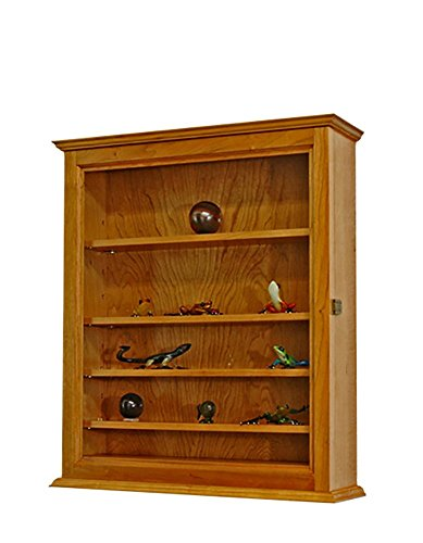 Curio Display Case Wall Cabinet-5 Adjustable Shelves- Cherry Hardwood
