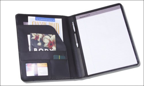 Norwood Black Leather Padfolio Letter Pad with Interior Organization Black/Red