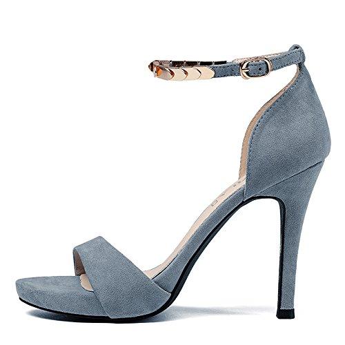 GAOLIM Sandalias Femenina Sujetadores Ranurado Fino Los Zapatos De Tacón Alto Con El Verano. El azul