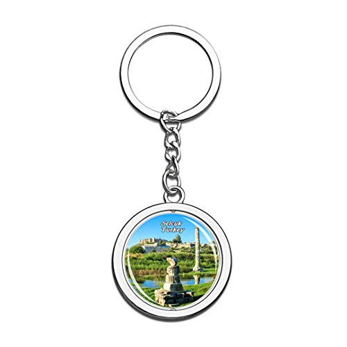 The Temple of Artemis Selcuk Turkey Keychain 3D Crystal Spinning Round Stainless Steel Keychains Travel City Souvenir Key Chain Ring ()