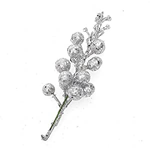 ( Pack of 12 ) Glittery Silver Artificial Berry Picks for Home Christmas Wreath Decor