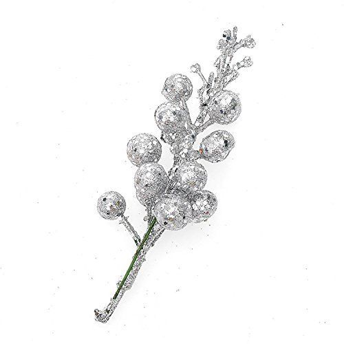 (Pack of 12) Glittery Silver Artificial Berry Picks for Home Christmas Wreath Decor